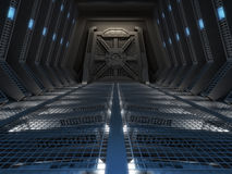 Futuristic interior. Of a space station Stock Images