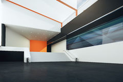 Futuristic interior with stairs. Sideview of futuristic interior with stairs, black floor, orange and white walls. 3D Rendering Royalty Free Stock Images