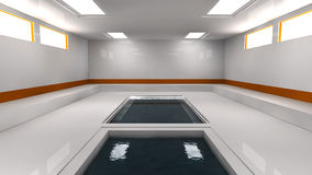Futuristic interior and swimming pool Royalty Free Stock Image