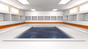 Futuristic interior and swimming pool Royalty Free Stock Photography