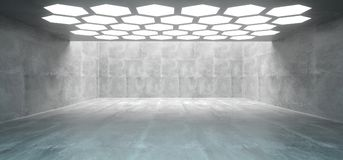 Futuristic Interior Underground Concrete Room With Hexagon Shape stock illustration