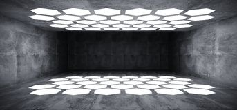 Futuristic Interior Underground Grunge Concrete Room With Hexago. N Shaped White Lights On The Ceiling And Floor With Dark Empty Space Wall 3D Rendering vector illustration