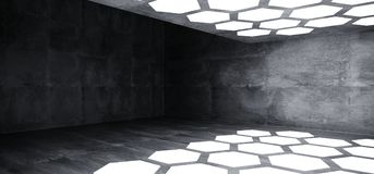 Futuristic Interior Underground Grunge Concrete Room With Hexago. N Shaped White Lights On The Ceiling And Floor With Dark Empty Space Wall 3D Rendering stock illustration