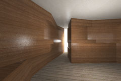 Futuristic interior with wooden wall Royalty Free Stock Photos