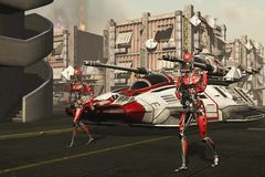 Futuristic invasion force Stock Images