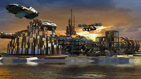 Futuristic island city with hoovering aircrafts. Science fiction island city with metallic ring structures on water and hoovering aircrafts in sunset for stock illustration