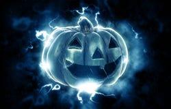 Futuristic jack o lantern. A futuristic jack o lantern on a black background surrounded by lightning Stock Photo