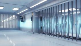 Futuristic jail and human clone. 3d render. Futuristic jail and human clone Royalty Free Stock Photo