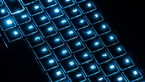 Futuristic Keyboard with blue glow royalty free stock images