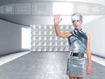 Futuristic kid girl silver touching finger icons Royalty Free Stock Photo