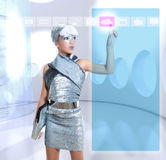 Futuristic kid girl silver touching finger icons Royalty Free Stock Images