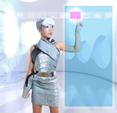 Futuristic kid girl silver touching finger icons Stock Images