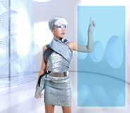 Futuristic kid girl silver touching finger icons Royalty Free Stock Photography