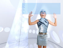 Futuristic kid girl silver touching finger icons Royalty Free Stock Image