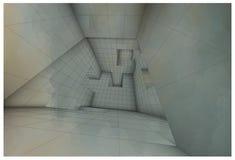 Futuristic labyrinth shaded vector interior illustration Royalty Free Stock Photos