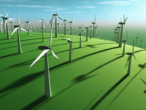 Futuristic landscape with wind turbine Stock Photos
