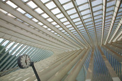 Futuristic Liege-Guillemins railway station stock photo