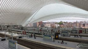 Futuristic Liege-Guillemins railway station stock video