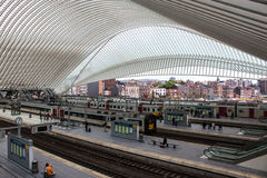 Futuristic Liege-Guillemins railway station Stock Images