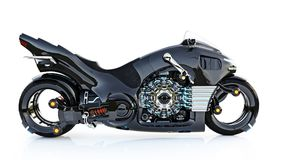 Futuristic light cycle. Motorcycle is on an isolated white background. 3d rendering Stock Photos