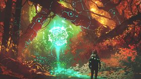 The futuristic light of enchanted forest. Man looking at glowing futuristic light in enchanted red forest, digital art style, illustration painting stock illustration