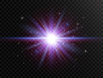 Futuristic light on transparent background. Flash with rays and spotlight. Star burst with beams and sparkles. Glowing. Effect. Colorful lens flare. Explosion royalty free illustration