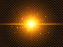 Futuristic light on transparent background. Gold star burst with beams and sparkles. Sun flash with rays and spotlight vector illustration