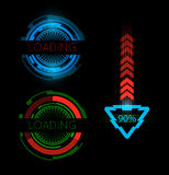 Futuristic loading bars on dark background. RGB. Vector contains transparent objects. Global colors used Stock Photos
