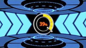 Futuristic Loading screen HUD in High tech lab base with 3D movement and rotation including arrow path lights, loading circle and