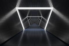 Futuristic long dark corridor in spaceship. 3D rendered illustration Stock Images