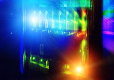 Futuristic look of the room with the mainframe in the data center. server room. Stock Photography
