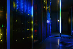 Futuristic look of the room with the mainframe in the data center. server room. Stock Image