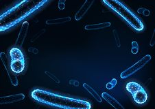 Futuristic low polygonal bacteria bacilli background with space for text on dark blue. Healthcare, bacterial infection research concept. Modern wireframe stock illustration