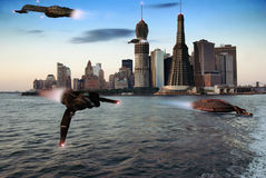 Futuristic lower Manhattan. Futuristic view of lower Manhattan with spaceships Royalty Free Stock Photo