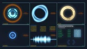 futuristic manöverenhet Digital skärm Ultra detaljerad abstrakt digital bakgrund Blinka och koppla indikatorer och stock illustrationer