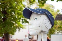 Futuristic man, white robot printed on a 3d printer royalty free stock photos