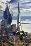 Futuristic Manhattan Architecture and vehicle. Futuristic edifices in a view of lower Manhattan with a futuristic shuttle at the foreground Stock Photos