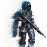 Futuristic Marine Soldier on a white background with splatter dispersion effect. Stock Photo