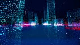 Futuristic matrix hologram city. Digital blueprint of buildings with particles