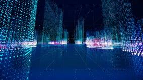 Futuristic matrix hologram city seamless loop. Digital buildings with particles