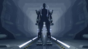 Futuristic mech firing with guns. A 3D rendered image of a futuristic mech in a sci-fi cargo corridor. The mechanical robot has heavy armor and is firing with Stock Photos
