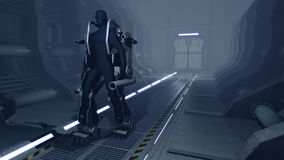 Futuristic mech walking through a sci-fi hangar. A 3D rendered image of a futuristic mech in a sci-fi cargo corridor. The mechanical robot has heavy armor and is Stock Image