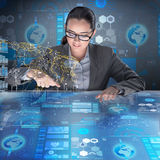 The futuristic media sharing concept with woman Royalty Free Stock Photo