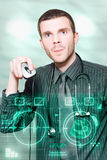 Futuristic Medicine Doctor Working With Interface Stock Image