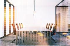 Futuristic meeting room interior toned Stock Photo