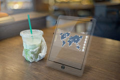 Futuristic meeting with Tablet on the table royalty free stock image
