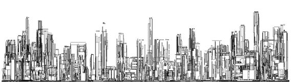 Futuristic Megalopolis City Of Skyscrapers Vector. Landscape View Royalty Free Stock Images
