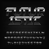 Futuristic metal alphabet font. Chrome beveled letters and numbers. vector illustration