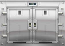 Futuristic metal armoured gate stock illustration