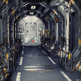 Futuristic metal Sci-Fi Corridor tunnel or ship interior . 3d rendering illustration . 3d render Stock Photo